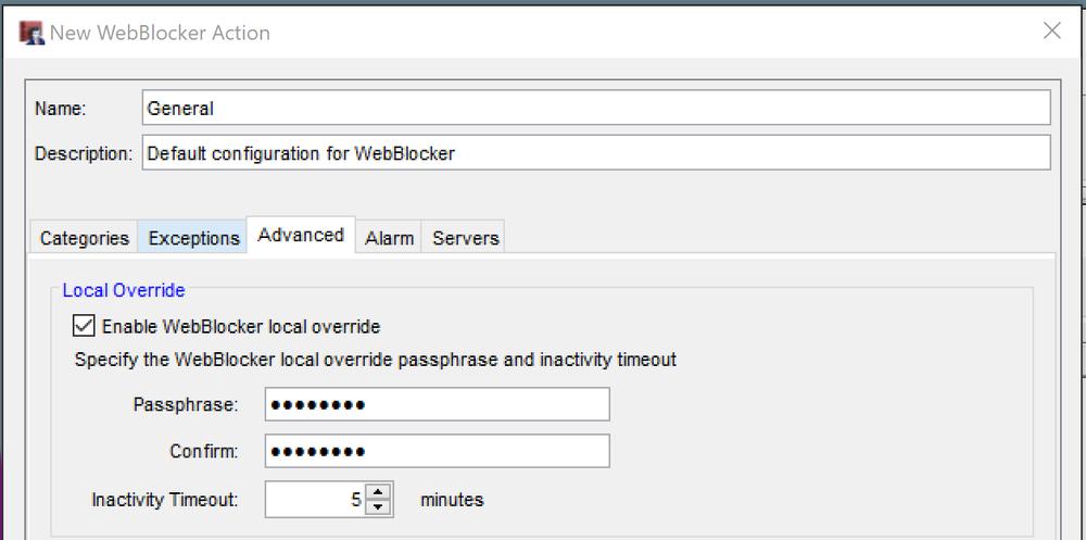 Advanced WatchGuard WebBlocker Settings