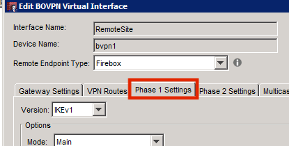 BOVPN Virtual Interface Phase 1 settings tab