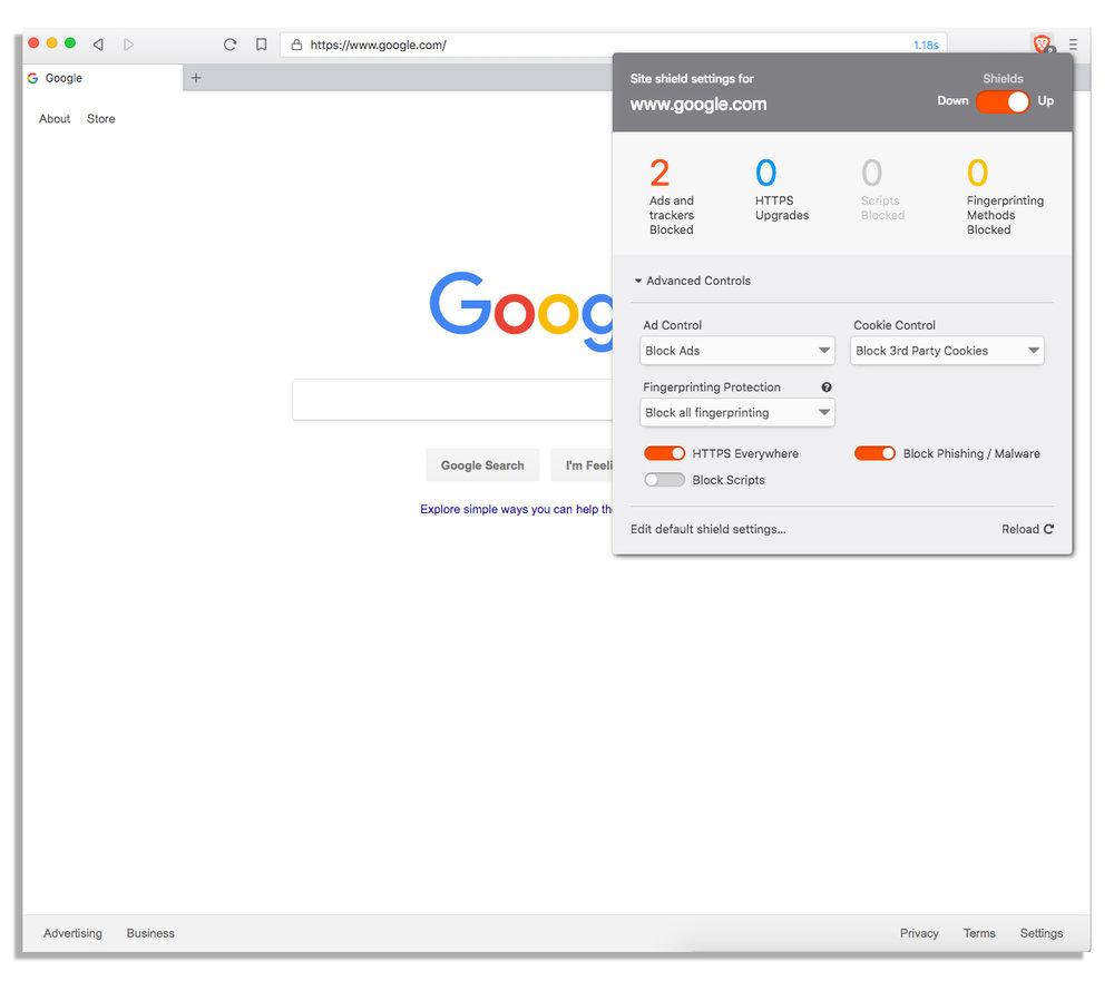 Google website on Brave browser image