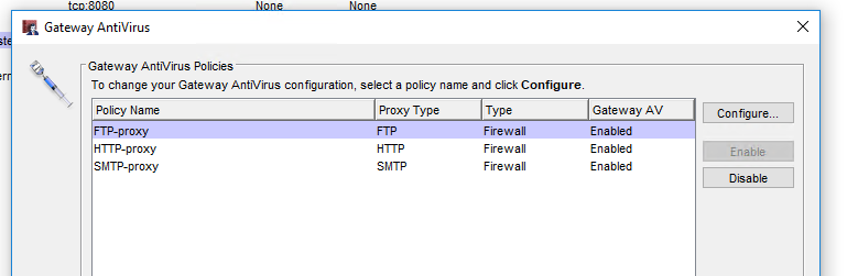Gateway Antivirus Configuration image
