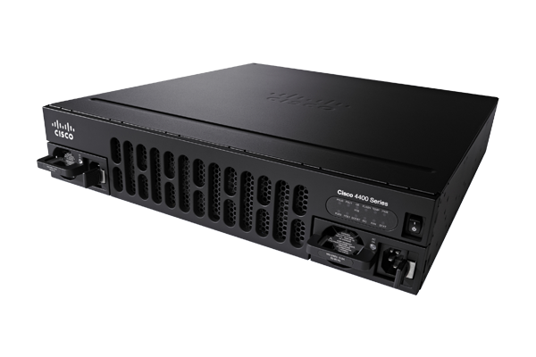 Cisco ISR 4451    PoE GE/SFP, GE/SFP integrated WAN ports  4-Gbps+ performance  1.6-Gbps encrypted throughput  Cyberthreat protection through Trustworthy Systems framework