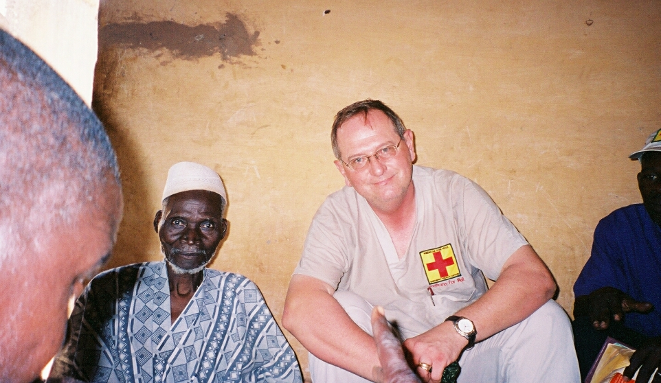 Dr. Steve DeVore and village elder in Kalima, 2005.
