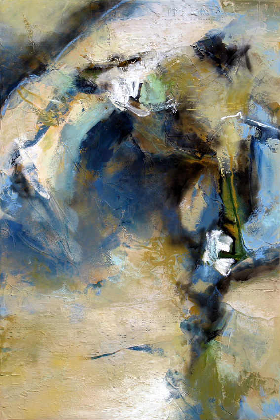 """Aural Persistence"" 60 x 40 in. — oil & mixed media w/ antique player piano paper"