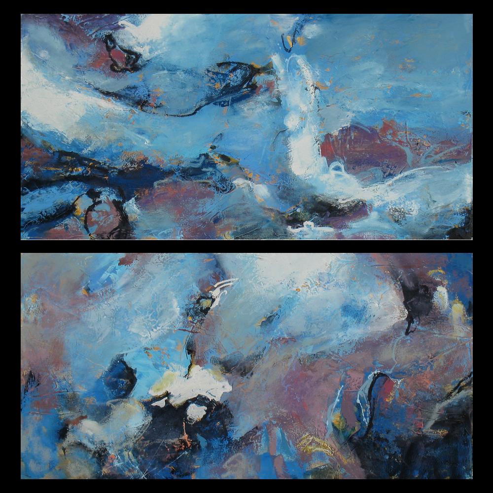 """Spring Tide I & II"" 24 x 48 in. ea. — oil & mixed media"