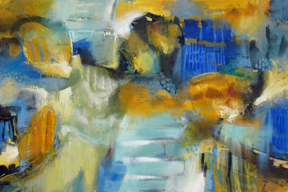 """""""Articulated Elements II"""" 40 x 60 in. — oil & mixed media"""