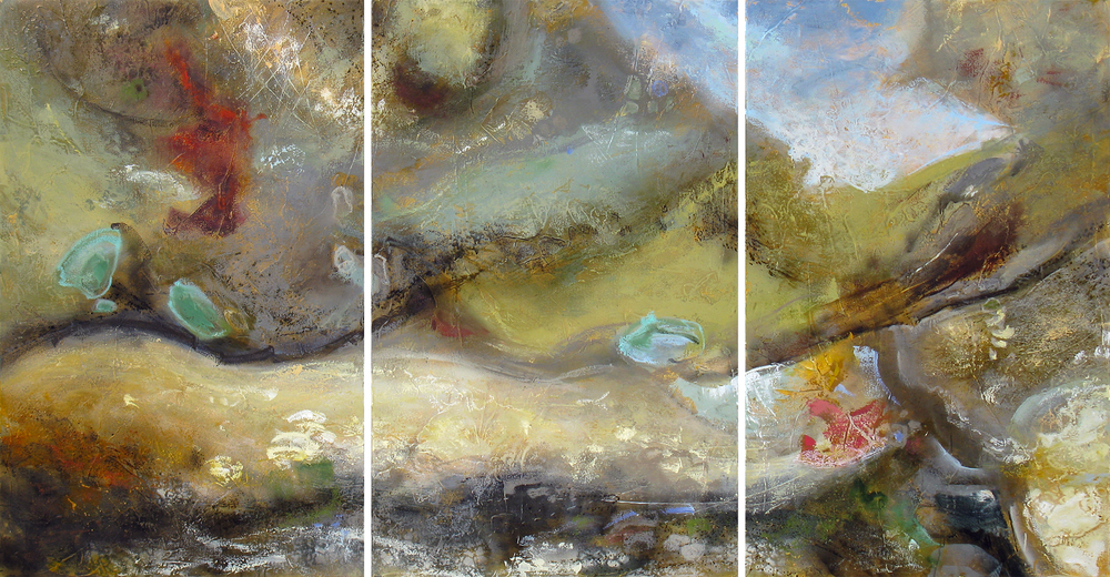 """""""The Pacific Age"""" 48 x 90 in. (triptych) — oil & mixed media"""