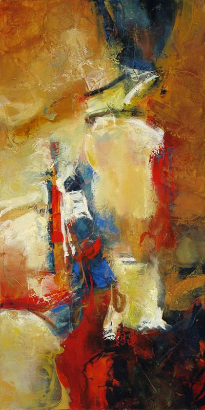"""Improvisation"" 48 x 24 in. — oil & mixed media"