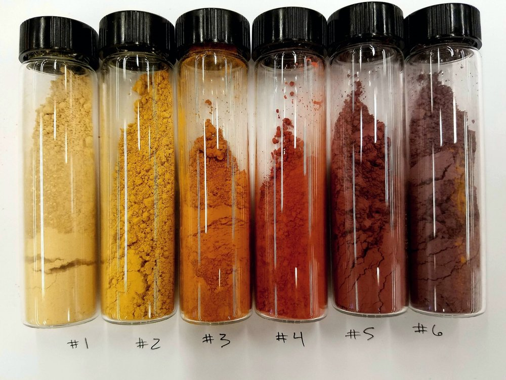 "A ""flight"" of ochres ranging from light yellow to purple from StudioLab's Material Archive  1:  Yellow Ochre Light  