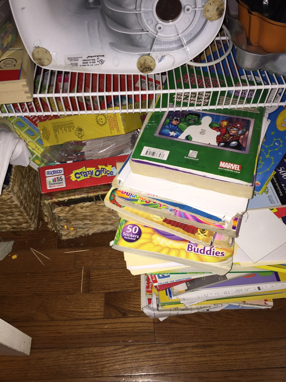 An online curriculum means less stuff!  These are our overflowing homeschool baskets from last year.