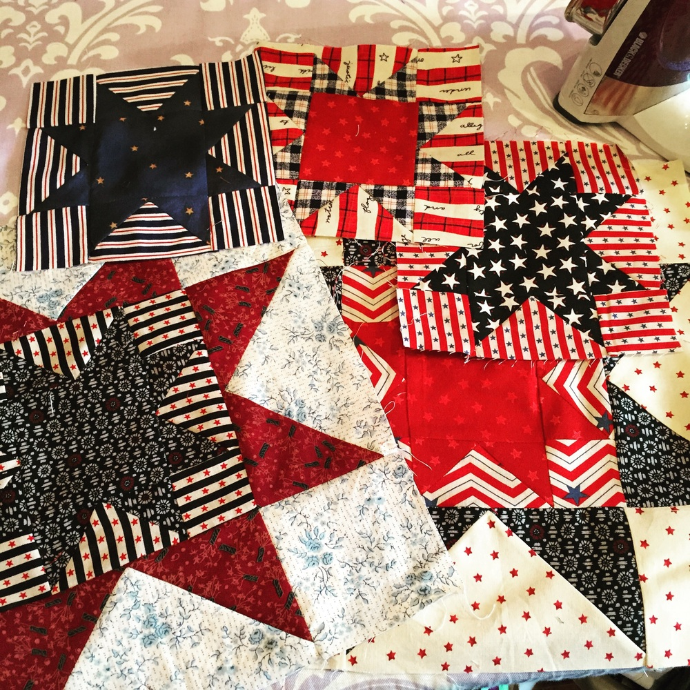 Blocks going into a quilt for a local veteran.
