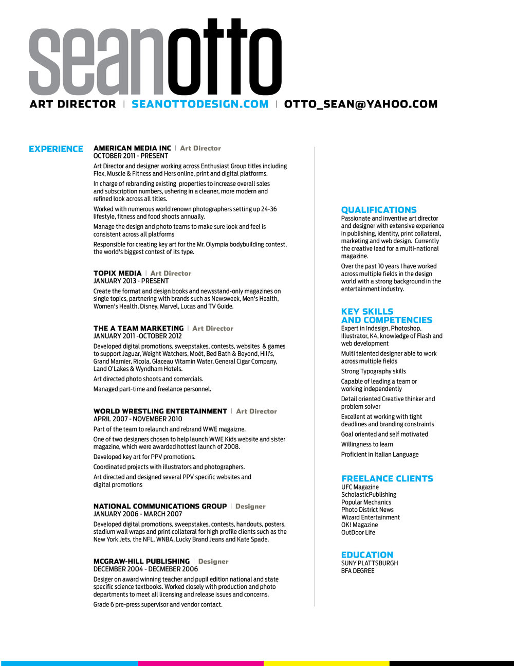 Sean Otto/Art Director  Entertainment Industry Resume
