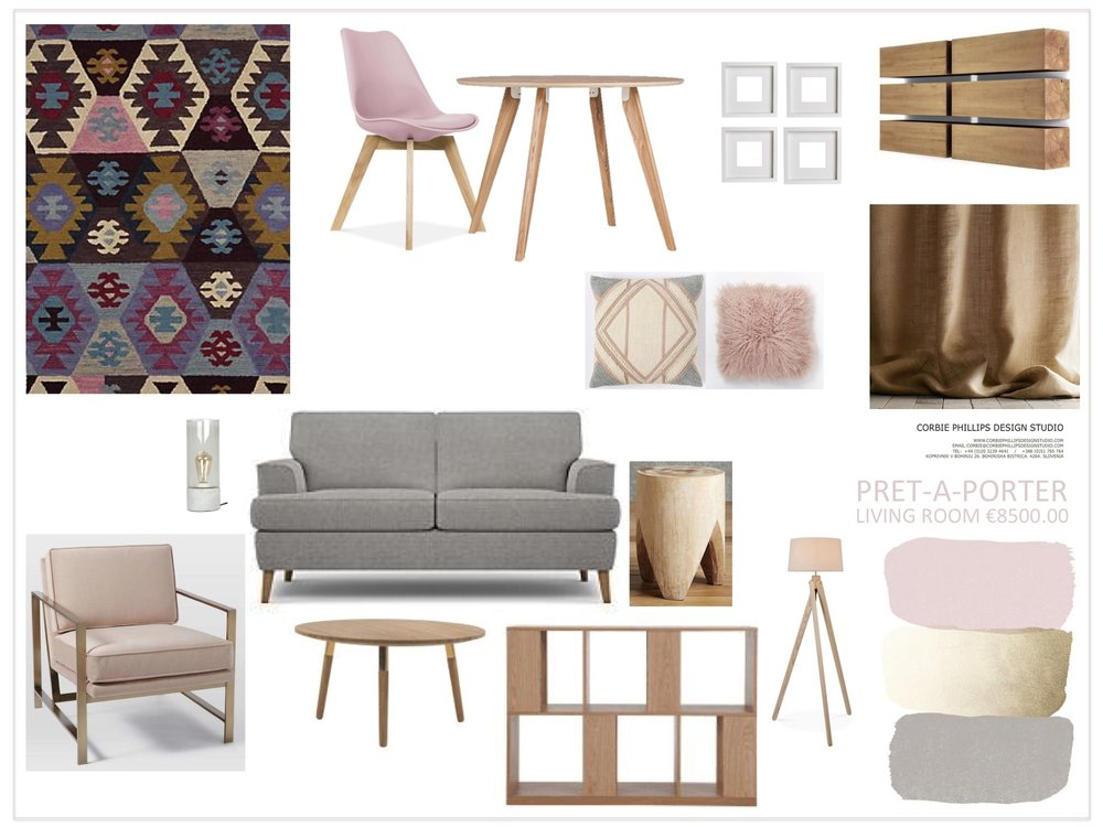 Pret-A-Porter: pink, grey and gold living room