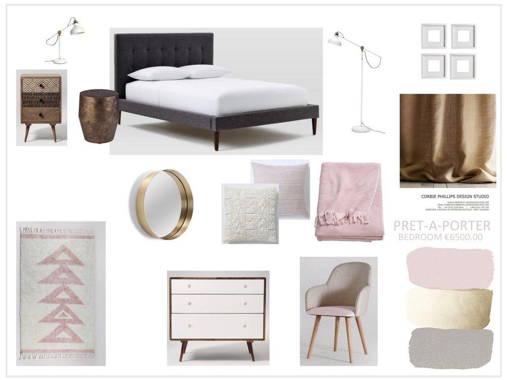 Pret-A-Porter: pink, grey and gold bedroom scheme