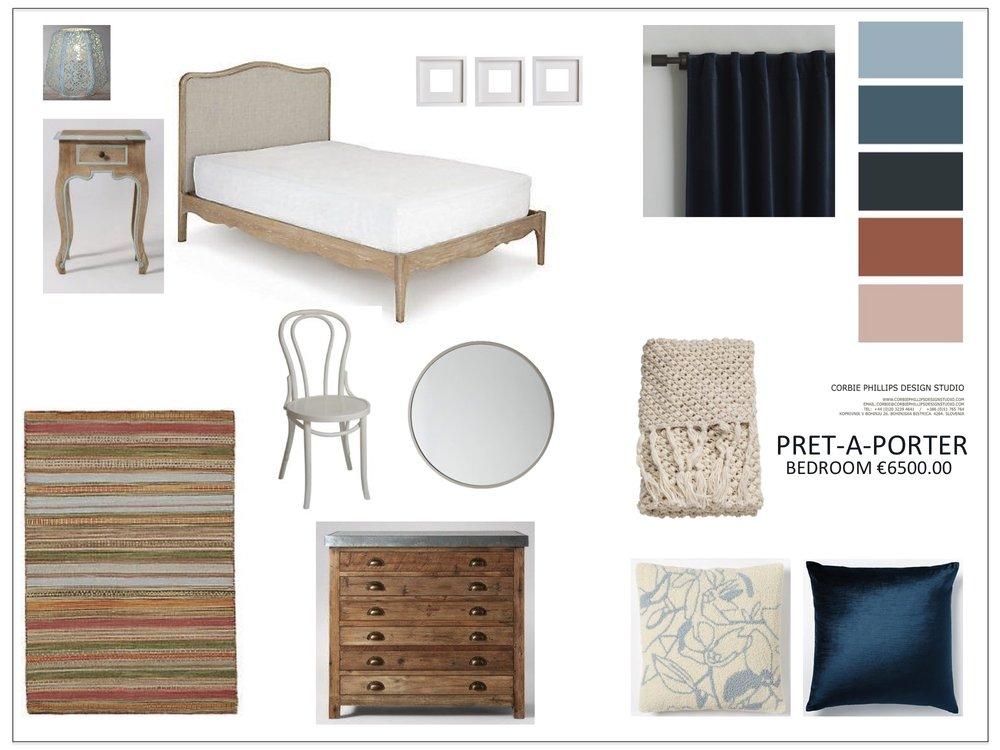 Pret-A-Porter: teal and burnt orange bedroom scheme