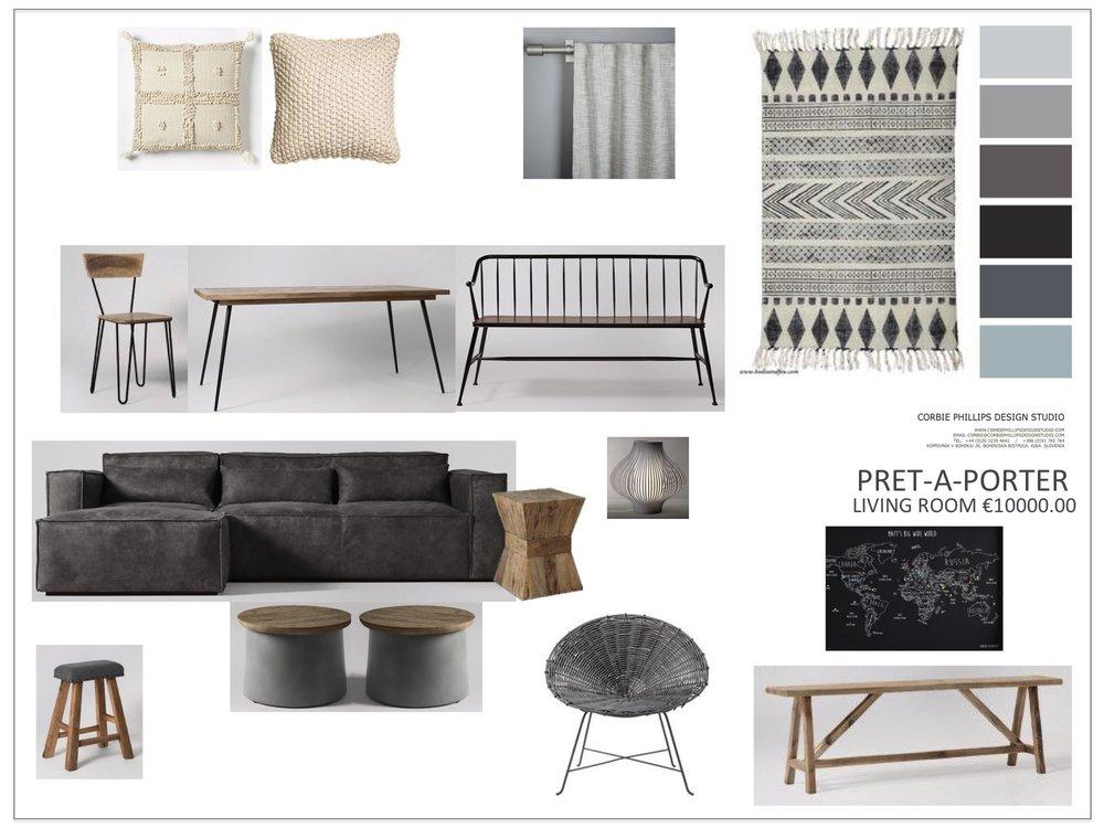 Pret-A-Porter: grey living room scheme