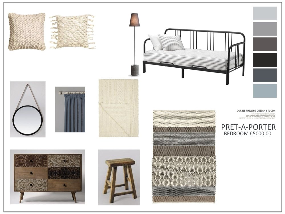 Pret-A-Porter: grey bedroom scheme