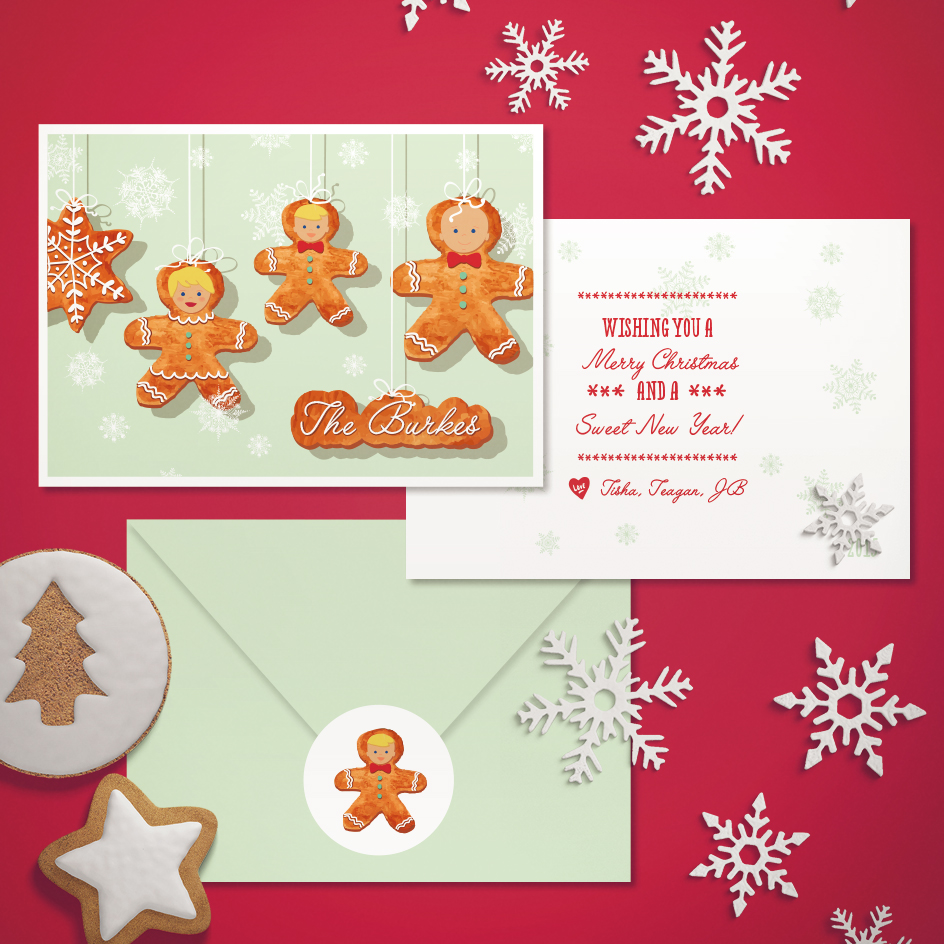 Christmas Cookie Family Greeting Card