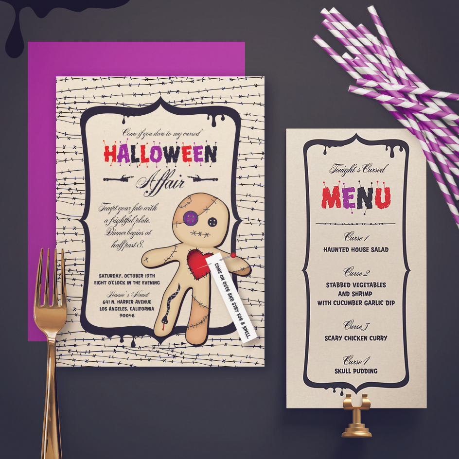 A Cursed Affair Halloween Invite and Menu
