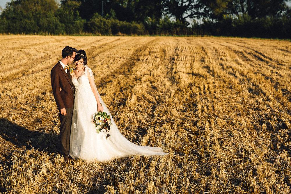 handmade wedding corn field
