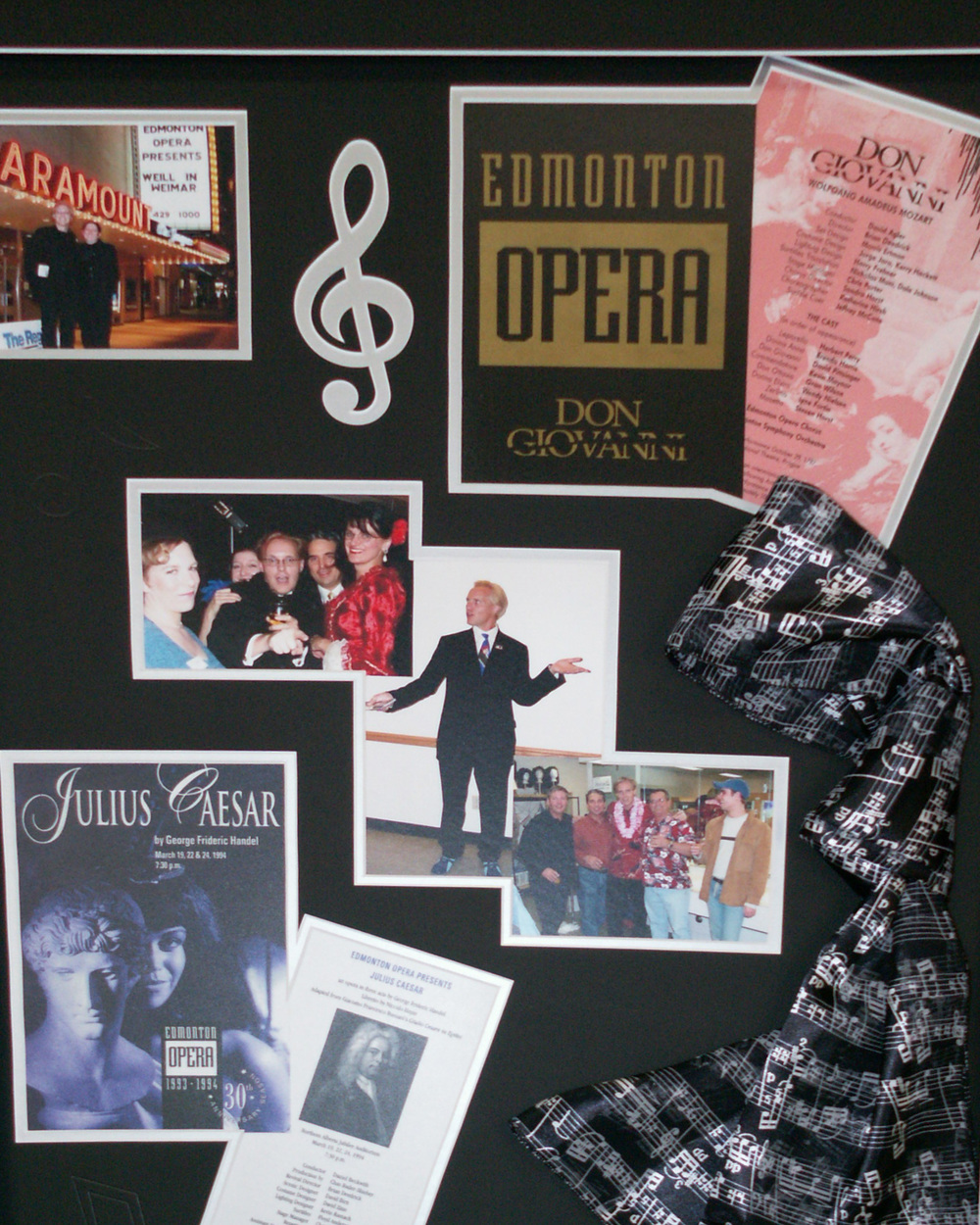 custom framed photos and programes from stage production of Edmonton Opera