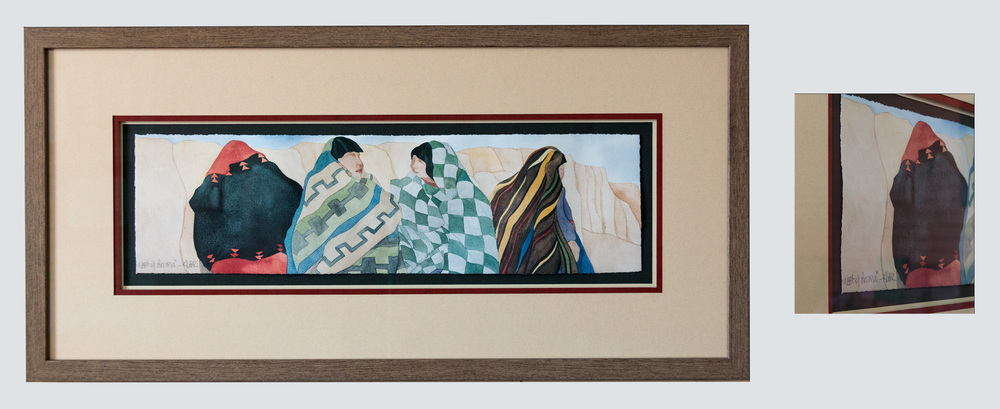 watercolor painting framed as a float mount utilizing museum quality glass and acid free mat board