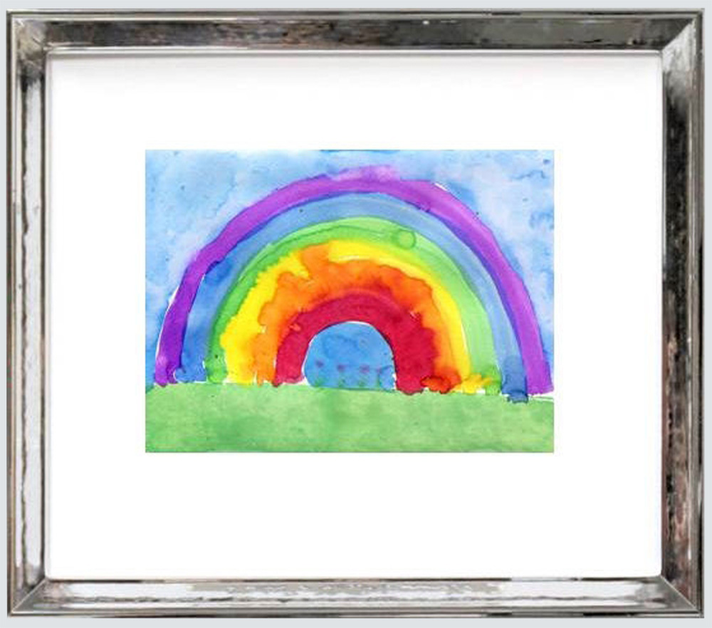 framed child's water color of a rainbow