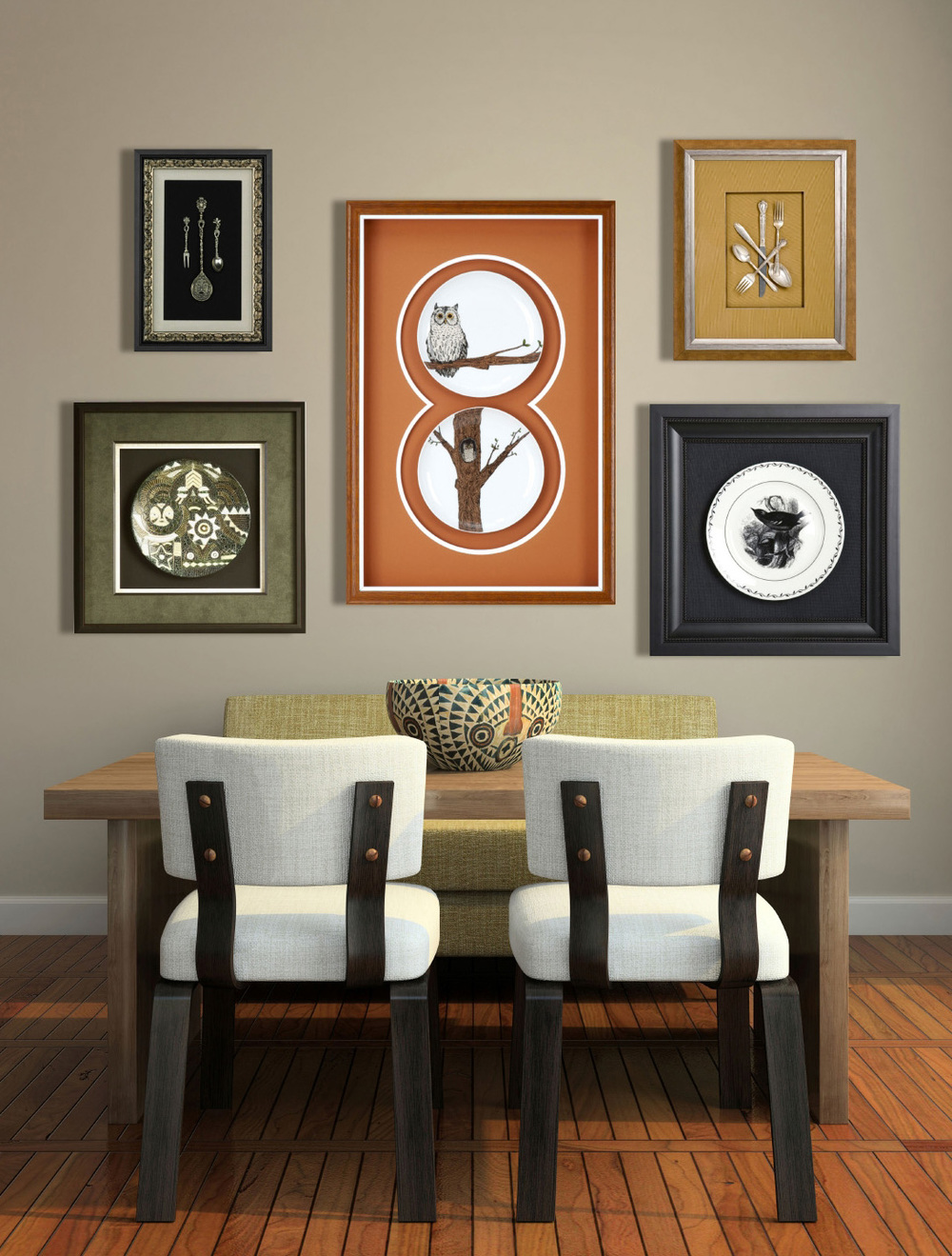 dining room with several framed art pieces on the wall