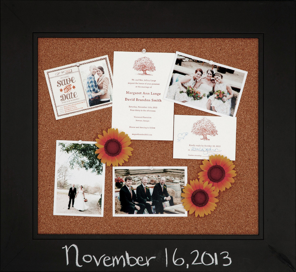 Nov 16,2013 written on frame with chalk surrounds wedding photos