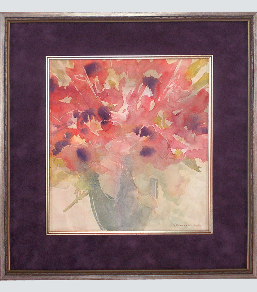 suede mat with fillet frame showing still-life watercolor of flowers.jpg