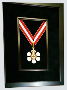 Framed order of Canada medal