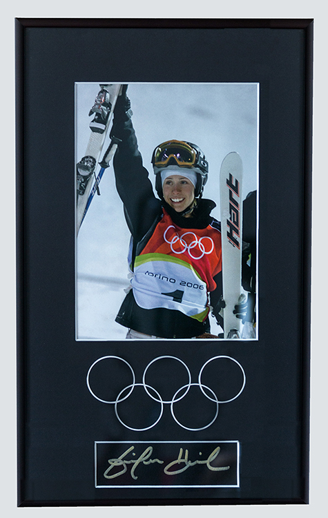 Framed and Matted photograph of Gold Medal Skier at Vancouver Olymipics