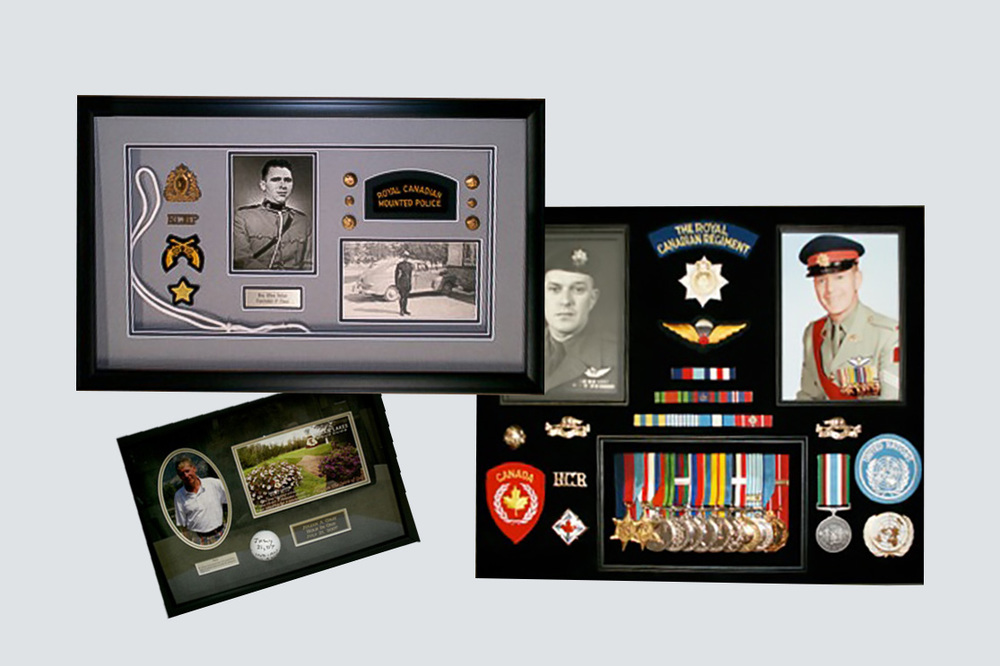 Collage of 3 framed photographs- medals, golf hole in one and police