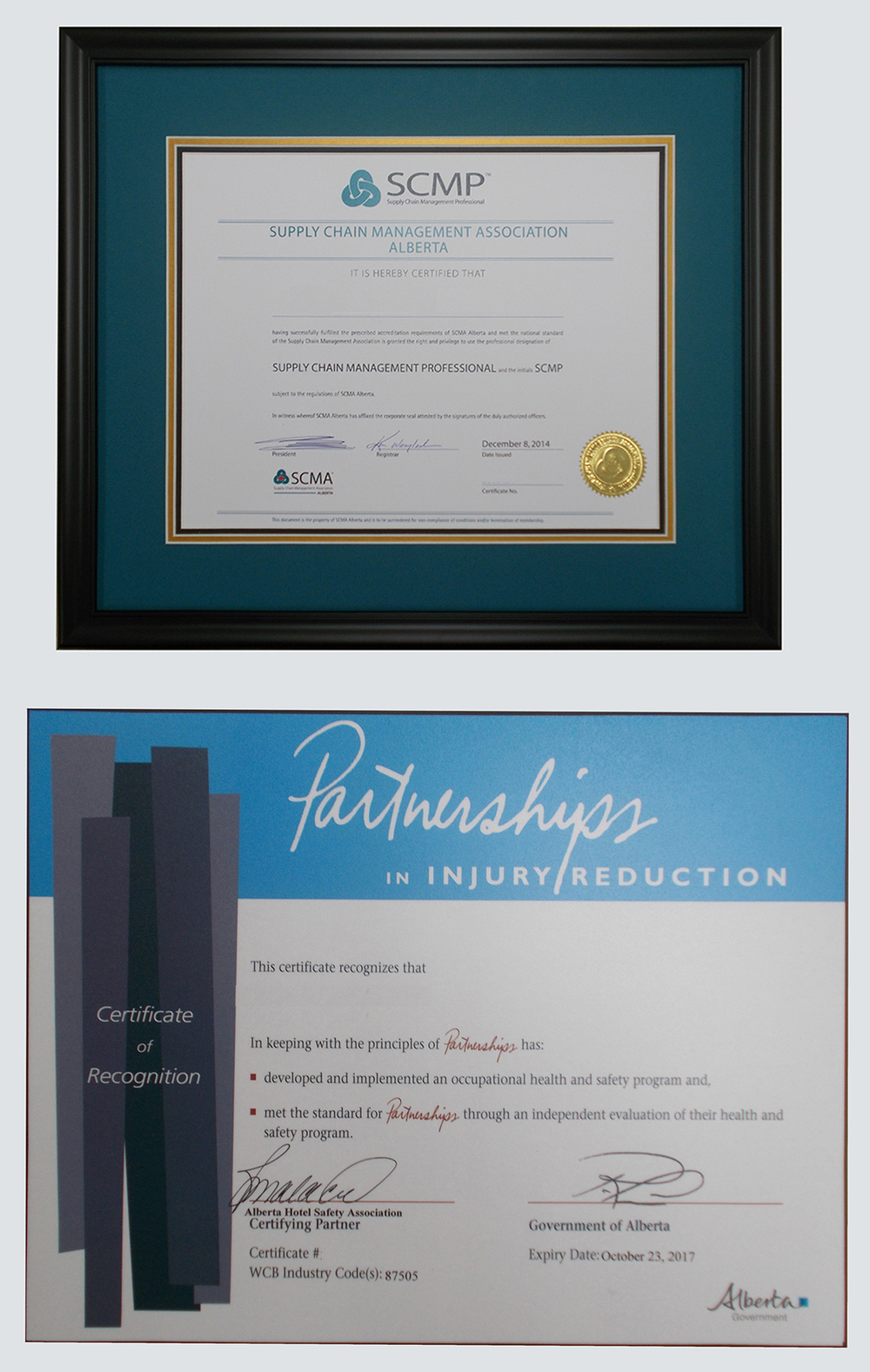 Framed corporate certificates
