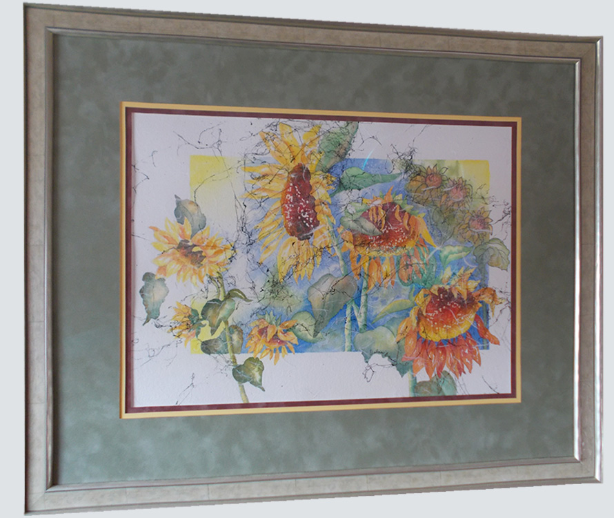 Framed watercolor of flowers