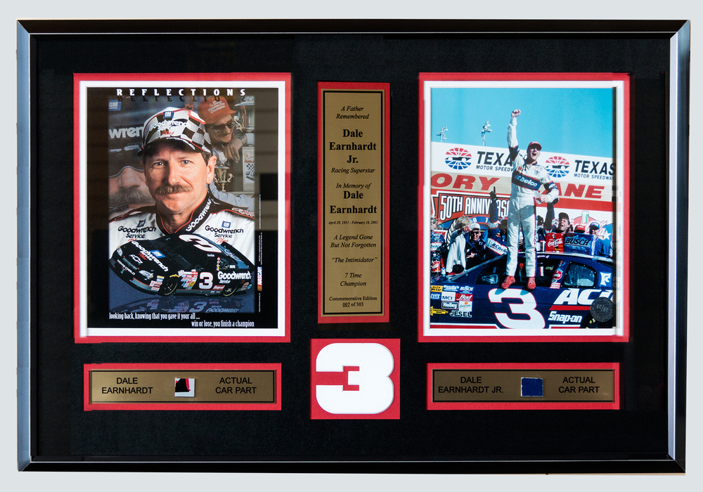 Framed car racing memoriblia