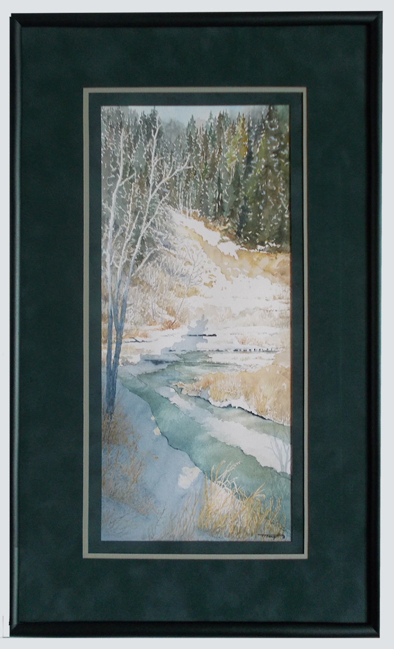 Artist  watercolor of stream in winter