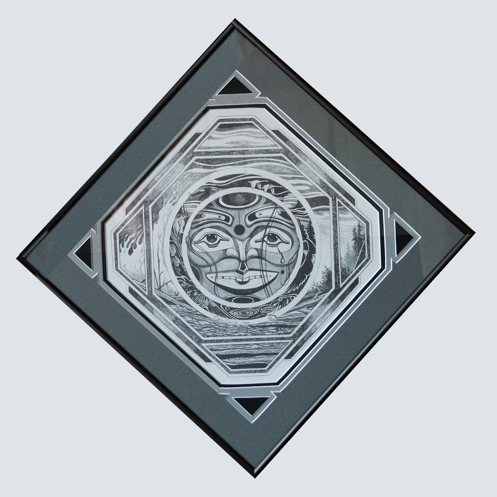 diamond shape custom frame showing Eskimo block print