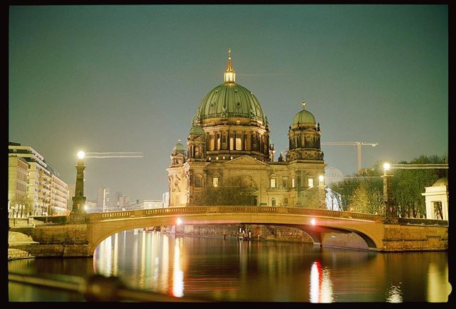 Quiet evening at the Berliner Dom. I was lucky enough to ride my bike across this bridge every day over the summer! I know one day I'll go back. #berlin #domcathedral #berlinerdom #deutschland . . . #analog #longexposure #cityscape #nightlights #fujifilm #wanderlust #eurotrip #beautifuldestinations #travelgermany #visitberlin #staybrokeshootfilm #analogvibes #filmphotography #filmisnotdead #filmcommunity #fuji400h #seemycity #passionpassport #createexplore #agameoftones #shotaward  #architecturephotography