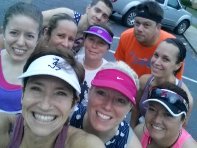 The running group!!! My friend Lisa has MAD SKILLS at taking selfies!!! How she fit all of us into this pic without a selfie stick.... I just don't know!!!