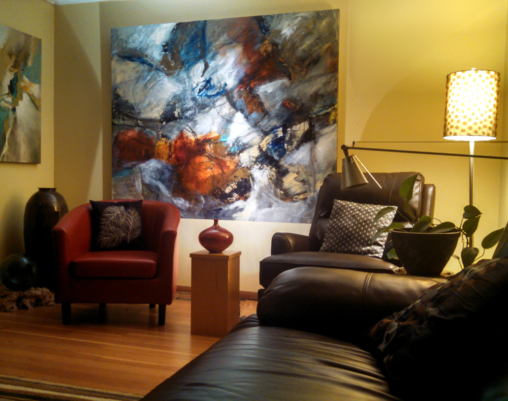 """Driven Intensity,"" 60""h x 72""w, as displayed in home context.  *SOLD"