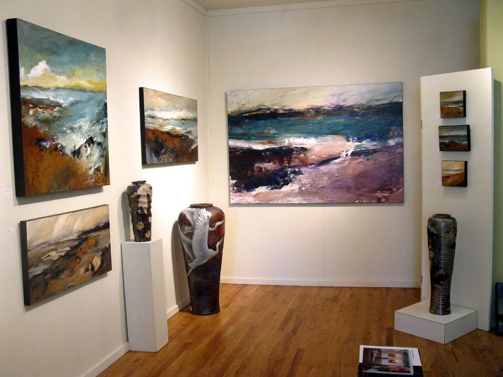 Mathie landscapes as recently installed at White Bird Gallery, Cannon Beach, OR, USA.