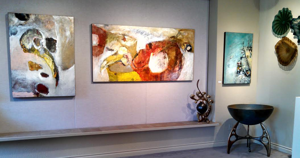 Current installation of Mathie paintings at Howard/Mandville Gallery in Kirkland, WA.