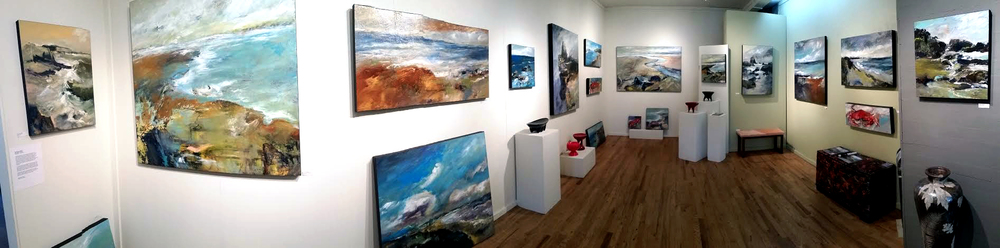 Panoramic view of current Mathie solo show at White Bird Gallery in Cannon Beach, OR