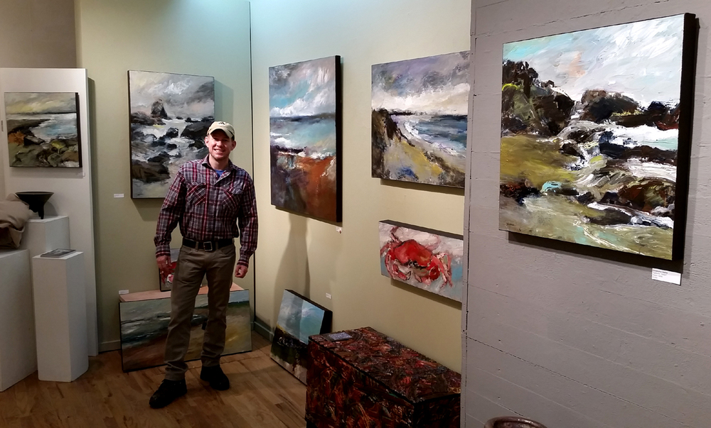 Mathie at recent solo show at White Bird Gallery in Cannon Beach, OR