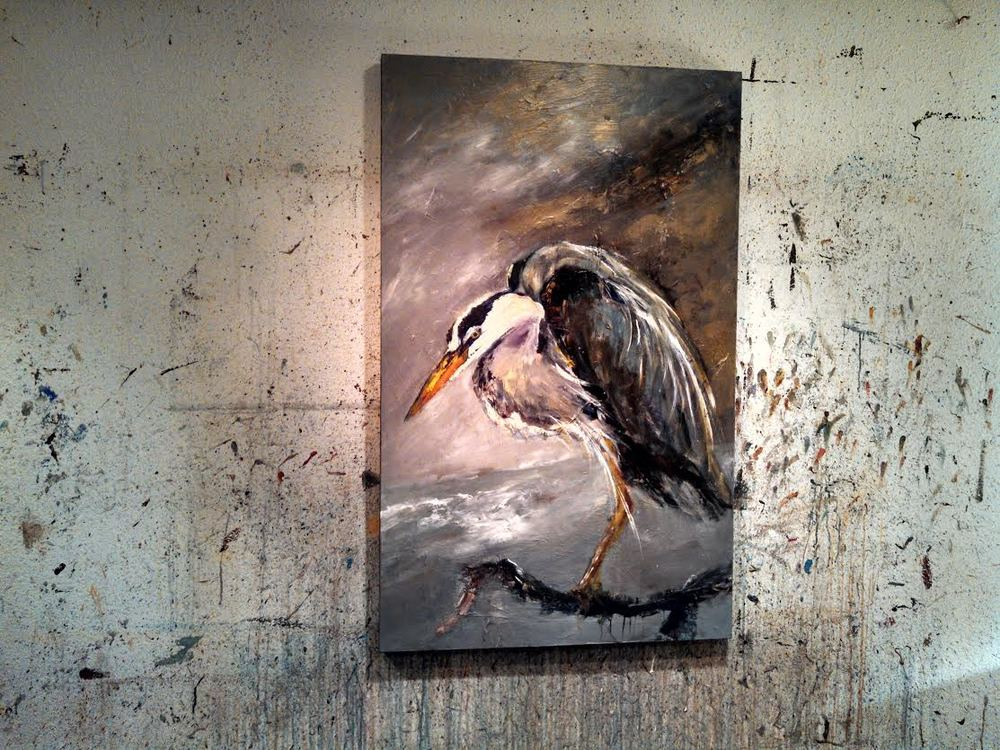 New Great Blue Heron in process now, 48 x 30 inches