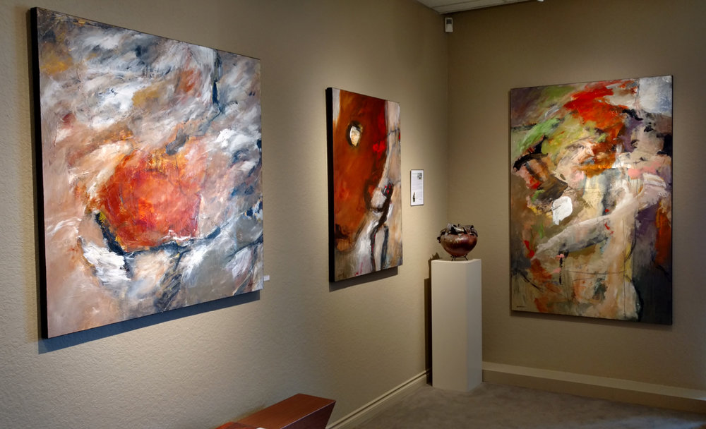 Current installation of Mathie paintings at Howard/Mandville Gallery in Kirkland, WA