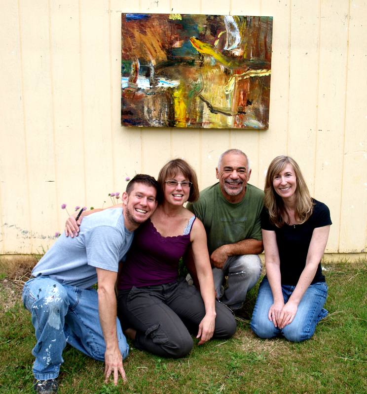 Me with some of my art students outside for critique.