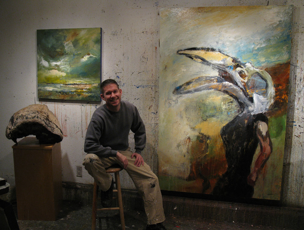 Mathie in his studio with new works, 10-2016