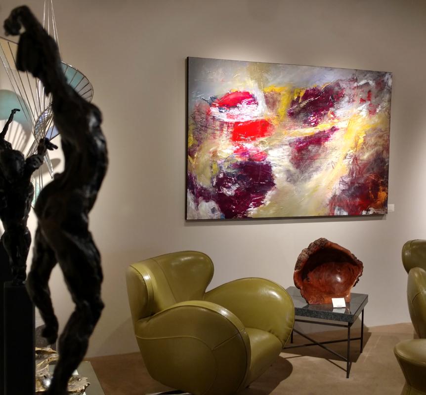"""Dahlia Garden,"" Mixed Media Painting, 48 x 72 inches"