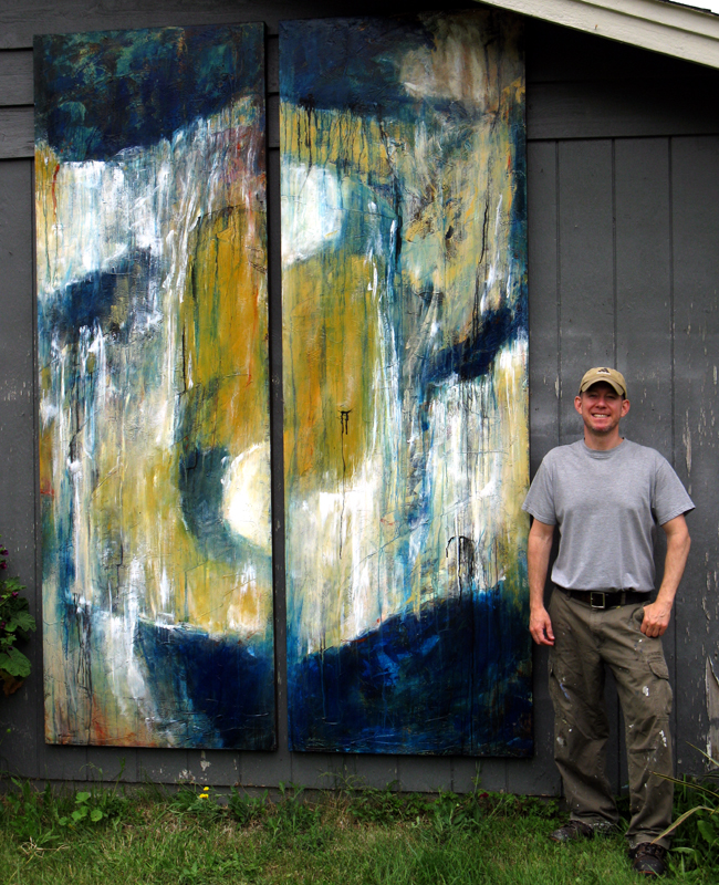 """""""Monolith for the Pacific Northwest, II & III,"""" Mixed Media, 108 x 36 inches (each), 2017."""
